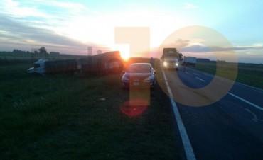 Choque de camiones en Ruta 205