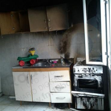 Principio de incendio en un departamento