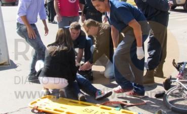 Accidente en avenida Lavalle: una ciclista resultó herida