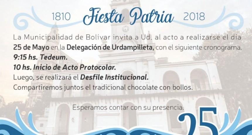 El acto protocolar por el 25 de Mayo será en Urdampilleta