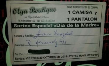 Andrea Irrazábal fue la ganadora del sorteo de 'Olga Boutique'